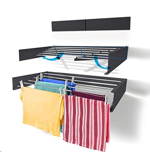 Step Up Tendedero Montar en Paredes - Retráctil - Tendedero Plegable para Interiores o Exteriores -y Compacto Que Ahorra de Espacio, Capacidad para 25 Kilos, 6 Metros (Gris-100cm)