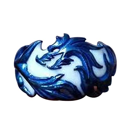 EzzySo Anillo de dragón de la Textura Azul, Accesorios de aleación de la joyería de la Manera Luminosa del Mercado Occidental, Regalos, Anillos de Boda,12