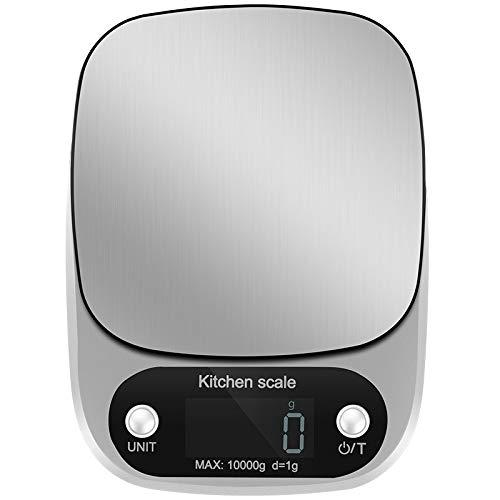 MHSHKS Básculas de Cocina Mini Home Acero Inoxidable Plato De Pesaje Escala De Cocción La Medición De Alta Precisión gram Escala,Café para Cocinar Y Hornear Silver-MAX:10kg