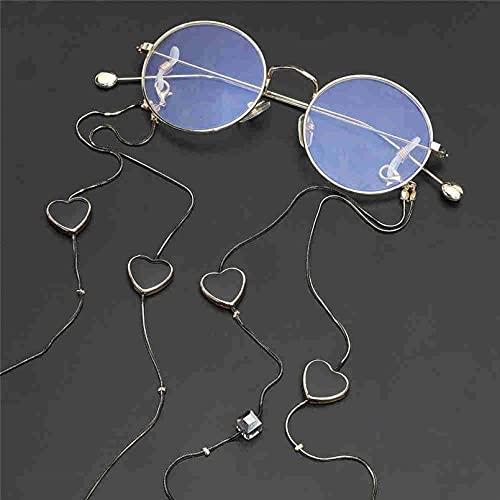 Cadenas para gafas Dos modelos Cristal negro en forma de corazón Cadena...