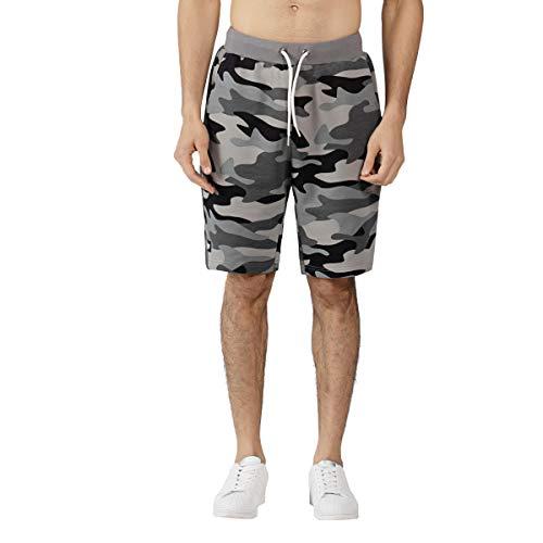 Extreme Pop Hombre Pantalones Cortos de Camuflaje Pantalón Corto de Combate de Camuflaje de Terry Army Pantalón de Playa Pantalones Deportivos Pantalones Cortos Camo Verde y Gris (L, Gris)