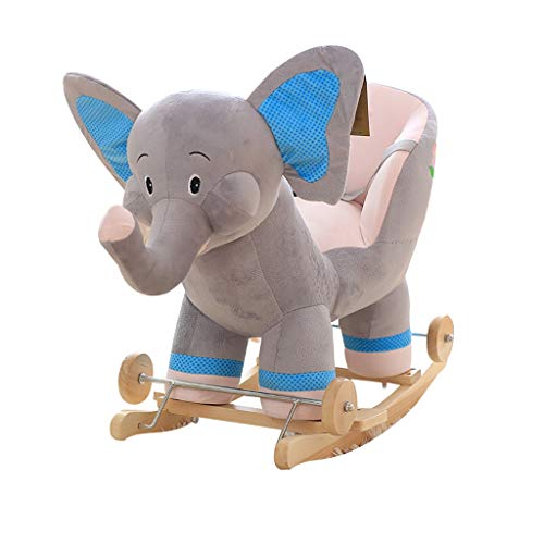 Rocking Chair Children's Rocking Chair Baby Wood Rocking Chair with Music Trojan ,2 in 1 Gray Elephant Plush Rocking Horse with Wheels, 45KG Capacity,Children Traditional Toy Rocking Ride-On Toy