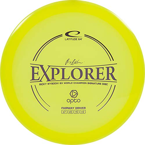 D·D DYNAMIC DISCS Latitude 64 Opto Explorer Disc Golf Driver | Stable Frisbee Golf Fairway Driver | 170g Plus | Stamp Color Will Vary (Yellow)