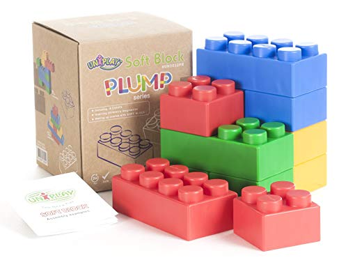 UNiPLAY Jumbo Multi-Color Soft Building Blocks with 2 Different Sizes for Ages 3 Months &Up Toddler and Baby Non-Toxic & BPA-Free Developmental, Educational, Creative Toy-12 Pieces Set