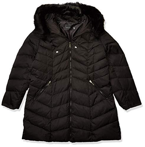 T Tahari Damen Heavy Weight Puffer Coat with Faux fur Hood Daunenmantel, Plus Black, 3X