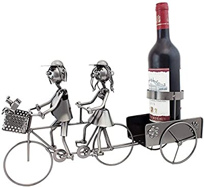 BRUBAKER Wine Bottle Holder Couple on Tandem Bicycle - Metal - Decor - Table Top Wine Racks and Stands