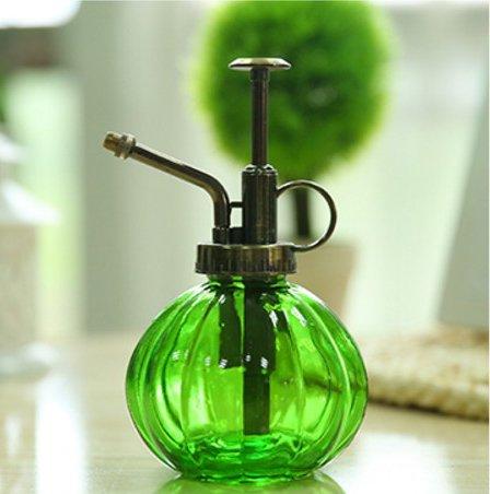 E-Meoly Vaporisateur d'eau vintage en verre transparent avec pompe sur le dessus (vert)