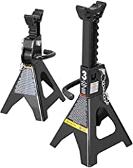 """Double locking jack stands help support vehicles after lifting with a jack; Handles a wide range of vehicles including small cars, jeeps, ATV's, UTV's, and more Features a lifting range of 11-1/4"""" to 16-3/4"""" with a 3 ton (6,000 lb) load capacity; Sad..."""