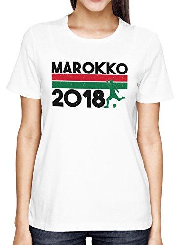 Marokko WM 2018#18 Premium T-Shirt Fan Trikot Fußball Weltmeisterschaft Nationalmannschaft Frauen Shirt, Farbe:Weiß (White L191);Größe:M