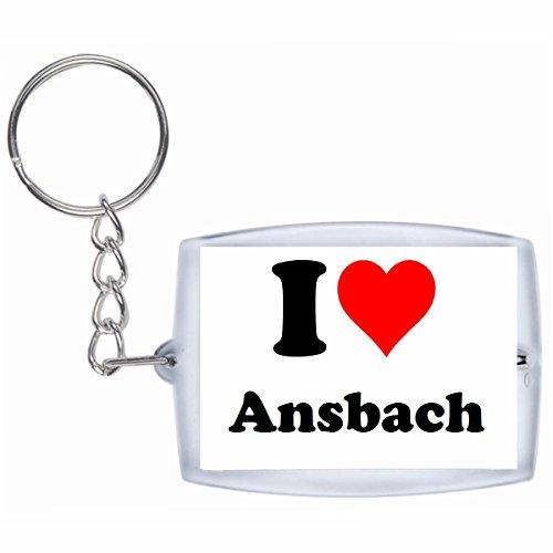 Druckerlebnis24 Schlüsselanhänger I Love Ansbach in Weiss - Exclusiver Geschenktipp zu Weihnachten Jahrestag Geburtstag Lieblingsmensch