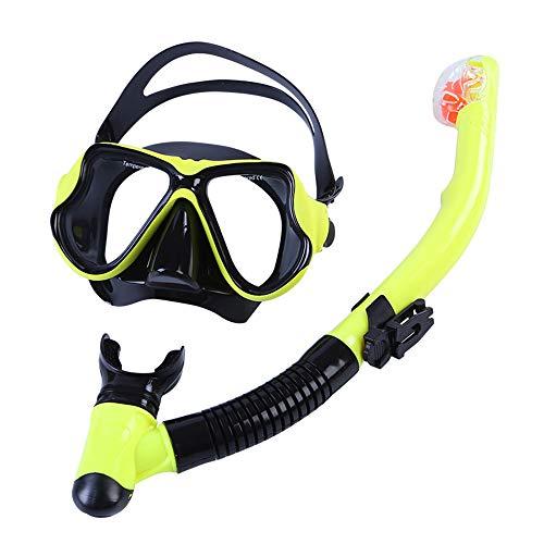 LZHYA Kit De Máscara Y Tubo para Snorkelling, Aleación de Aluminio, Vidrio antivaho, Tipo seco, 120 Grados,Juego De Buceo Kit De Snorkeling, Set De Buceo Máscara De Buceo Snorkel Set (Green)