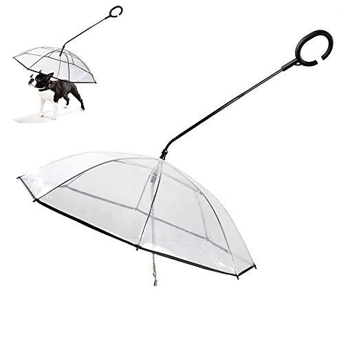 01 hond paraplu, hond transparante paraplu, lekvrij inklapbare huisdier paraplu, met luie en verstelbare paraplustok, voor kleine middelgrote honden of andere huisdieren