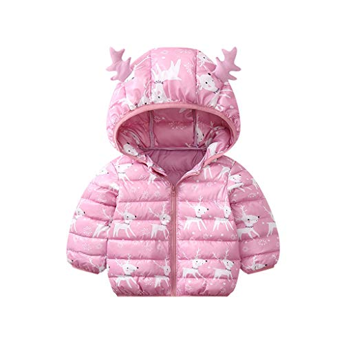 Kleinkind Baby Baumwolljacke mit Kapuzenhirschohr Mädchen Junge Winter Weihnachten Cartoon Winddichter Mantel Kapuzenjacke Warme Steppmantel Outwear Daunenjacke, Rosa-3, 0-6 Monate