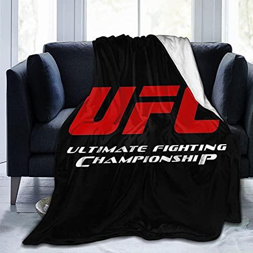 Runhomal Mantas para Cama UFC Logo Sofá Cama para Hombres y Mujeres, Manta de Franela antipilling, Dormitorio Universal para Adultos, Sala de Estar, Manta cálida de Lujo Ultra cómoda, 125 cm ×...