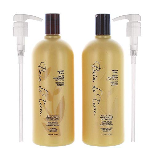 Bain de Terre Passion Flower Color Preserving Shampoo and Conditioner 33.8 Oz with 2 Liter Pumps