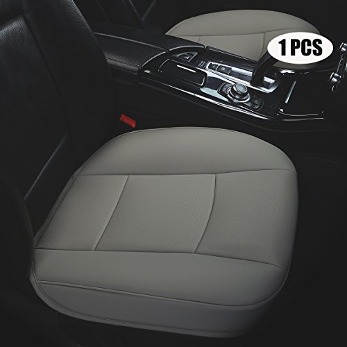 EDEALYN Luxury car Interior PU Leather car seat Cushion Protector Front Car Seat Cover,Single seat Cushion (Width 20.8×deep 21×Thick 0.35 inch) (Gray)