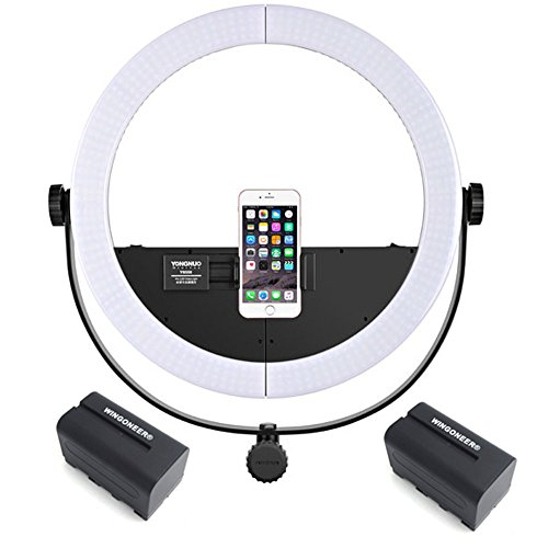 YONGNUO YN508 two-in-one LED video light Photography Beautify LED Ring Light 3200K~5500K for Smartphone DSLR Camera + 2PCS WINGONEER NP-F770 Battery and Battery Charger