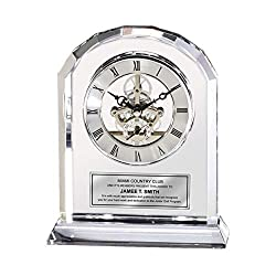 Diamond Cut Arch Clear Crystal Engraved Clock Desk Year of Service Award Executive Employee Retirement Etched Silver Engraving Anniversary Wedding Gift Birthday Glass
