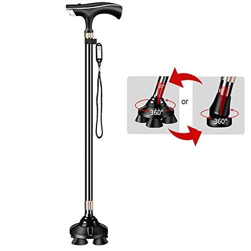 WXLSQ Bastón portátil para Caminar con bastón portátil, con luz LED, 10 ajustes de Engranaje Equilibrio Mobility Aid Mangos Mujeres de la Tercera Edad Bastón portátil para Caminar,Negro