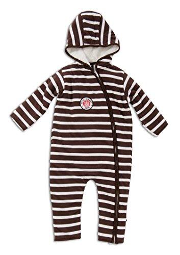 St. Pauli - Teddy Stripes Baby Overall, Farbe: weiß/braun, Größe: 6 Monate