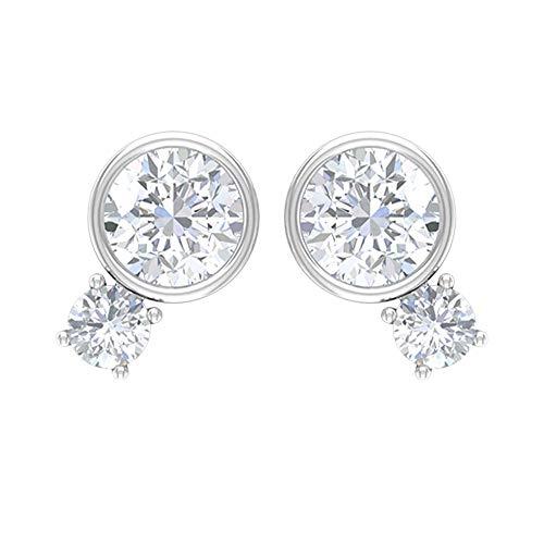 Pendientes de diamante de 1/4 ct con 2 piedras (calidad AAA), 14K Oro blanco, Par
