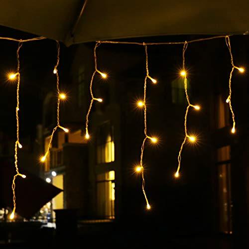 Eisregen Lichterkette Außen, LED Lichtervorhang mit Timer, IP44 Wasserdicht 8 Modi für Innenausstattung Außenbereich Schlafzimmer Hochzeit Weihnachten Party (400 LED 10m, Warmweiß)