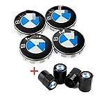 Health mall Wheel Center Caps and Tire Valve Stem Caps Emblem 68mm Rim Center Hub Caps for E30 325i 328i E36 E46 E34 E39 E60 E65 E38 Wheels Logo Black & White Color