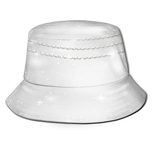 MAYUES Sombrero de Pescador Unisex Fondo Gris Collar Perlas Vector Illustrator Plegable De Sol/UV Gorra Protección para Playa Viaje Senderismo Camping