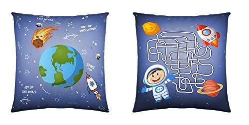 Montse Interiors, S.L. Cuadrante o cojín Infantil Espacio con Astronauta y Planetas en Tacto pétalo (Space, 45x45)