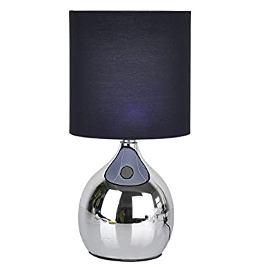 "Touch Lamps Bedside 4 Stage 12""H Chrome Table Desk Light Fabric Shades (Black)"