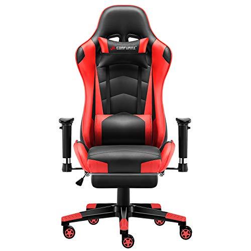 JL Comfurni Gaming Stuhl Bürostuhl mit Fußstütze Ergonomischer Computerstuhl Racing Lehnstuhl höhenverstellbar Schreibtischstuhl mit verstellbaren Armlehnen aus Kunstleder Rot