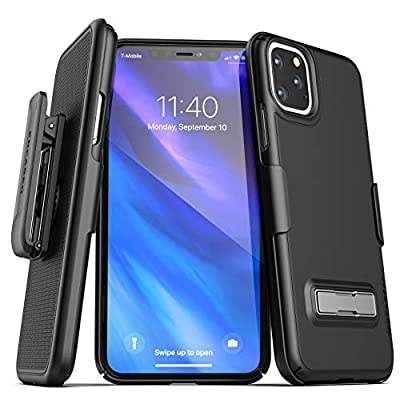 Encased iPhone 11 Pro Belt Clip Case with Kickstand (2019 Slimline) Ultra Thin Cover with Holster - Black