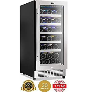 Colzer Classic 15 Inch Wine Cooler Refrigerators, 30 Bottle Fast Cooling Low...