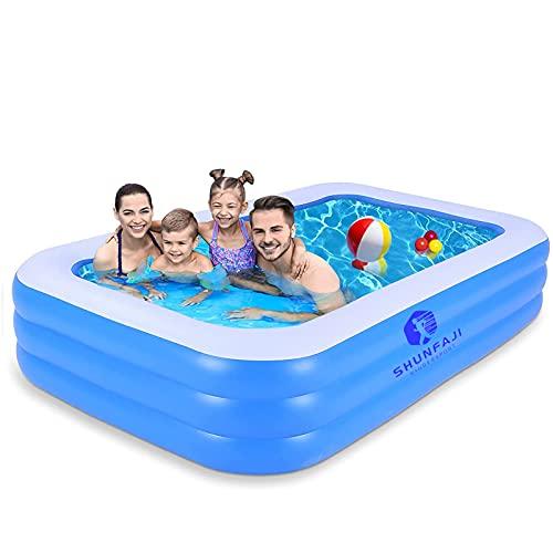 Aufblasbarer Familienpool, Schwimmbecken Rechteckig, Aufblasbarer Lounge-Pool Für Für Kinder Ab 3 Jahren, Jugendliche Und Erwachsene, Für Garten Und Outdoor, Sommerwasserparty (B 175*110*45CM)