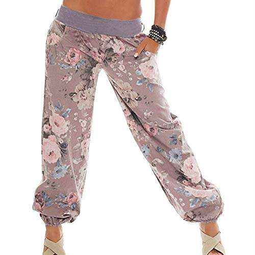 Broeken Autumn Summer Locker Dames Floral Broeken Lange broek Baggy Leggings Plus Size Large kaki