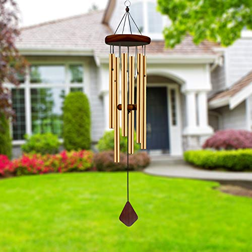 ASHLEYRIVER Wind Chimes Outdoor Deep Tone,Memorial Wind Chimes Aluminum Tubes Wooden Wind Bell for Garden/Patio/Outdoor Home Decor 30 Inch-Bronze