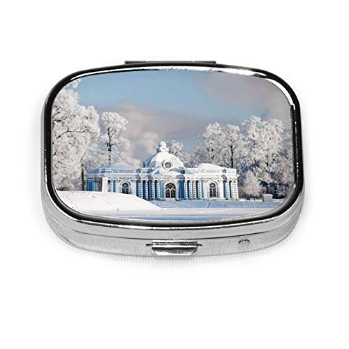 Nature Snow Winter City - Pastillero organizador de píldoras para viaje, con 2 compartimentos, portátil, ideal para regalo