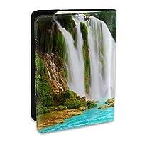滝 自然の風景 パスポートカバー 旅行パスポート パスポートケース パスポートバッグ パスポートホルダー 多機能 航空券 スキミング防止