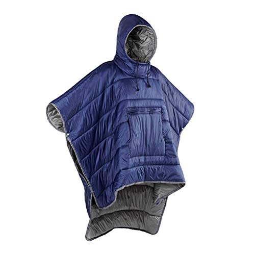 Adult Wearable Sleeping Bag - Hoodie Blanket, Portable Outdoor Honcho Poncho Warm Cover Coat, Windproof Water-resistant Cloak Cape for Cold Weather Outdoors, Home or Office Use,Blue