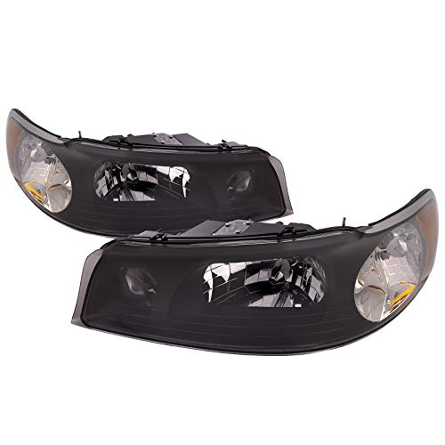 HEADLIGHTSDEPOT Headlights Black Housing Set Left Driver Right Passenger Pair Compatible with 1998-2002 Lincoln Town Car