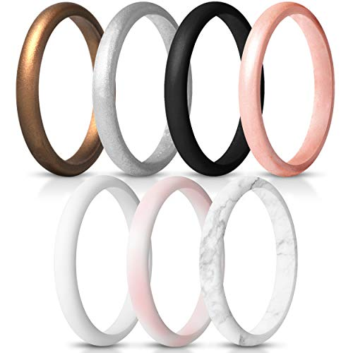 ThunderFit Women's Thin and Stackable Silicone Rings Wedding Bands - 7 Rings (6.5-7 (17.3mm))