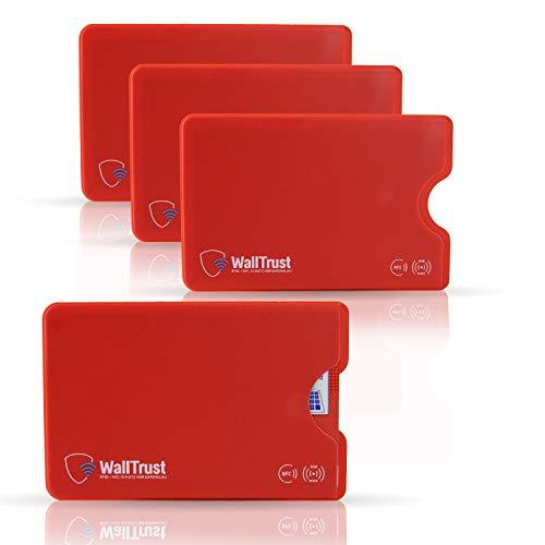 WallTrust RFID Schutzhülle für Kreditkarten, Plastik, TÜV, 3er Set, Rot