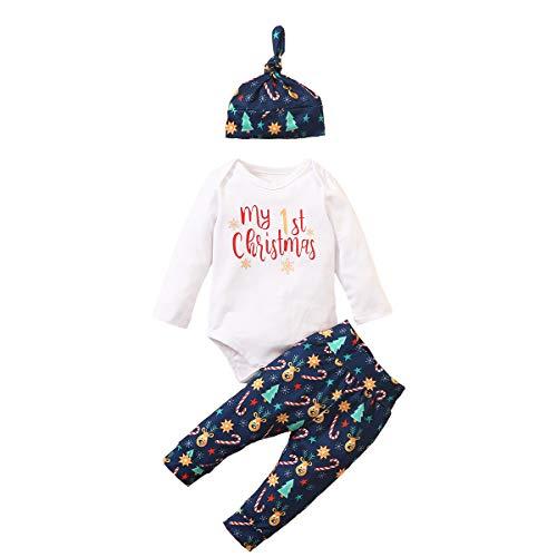 Carolilly - Conjunto de 3 piezas de Navidad para niño o bebé, de felpa con detalle navideño de manga larga turquesa 18-24 meses