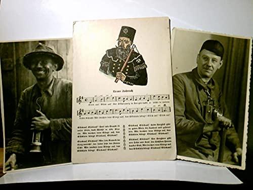 Bergmänner. 3 x Alte AK s/w, ungel. ca 30 /40ger Jahre ?. 2 x Portrait, Kumpel in Arbeitskleidung u. Grubenlampen, 1 x Liedtext mit Noten : Neuer Anbruch. Grubenarbeiter, Zechen, Ruhrpott