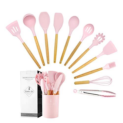 Wekity - Juego de utensilios de cocina de silicona con soporte, utensilios de cocina y gadgets con espátula, torneo ranurado, cucharas, pincel, varillas, pinzas (rosa)