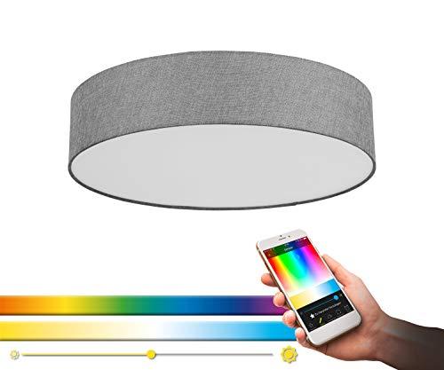 EGLO connect LED Deckenleuchte Romao-C, 1 flammige Deckenlampe aus Stahl, Textil und Kunststoff in Weiß, Grau, mit Fernbedienung, Farbtemperaturwechsel (warm, neutral, kalt), RGB, dimmbar, Ø 57 cm