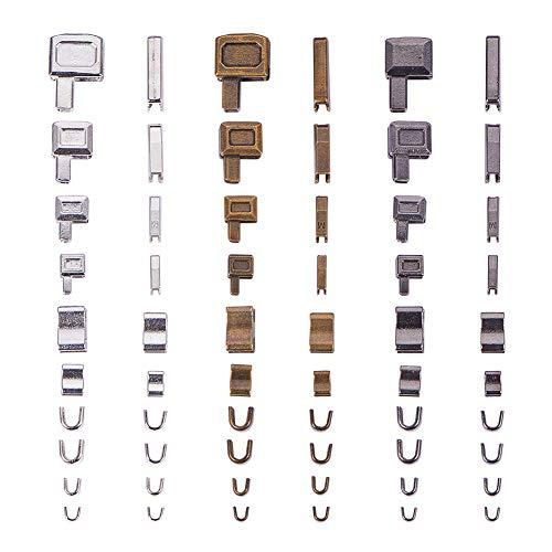 PandaHall Zinklegierungs-Reißverschluss Oben auf dem Plug-and-Repair-Reißverschlussstopper, Reparaturzubehör-Einsatzkasten und Pin-Fix-Halter, Mischfarbe, 3x3,5x2,5mm