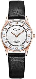 Rotary | Women's Ultra Slim Black Leather | Mother Of Pearl Dial LS08304/41/D
