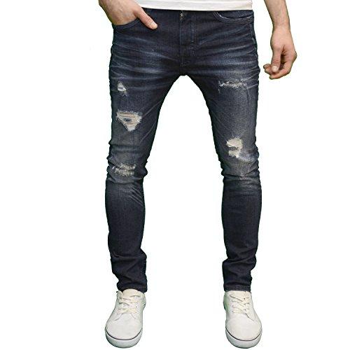 DML Jeans Men's Skinny Fit Straight Leg Stretch Ripped Detail Denim Jeans (30W x 32L, Darkwash)