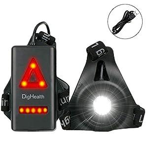 DigHealth Luz para Correr, 3 Modos LED Luz de Pecho Impermeabl con Luz de Advertencia de Seguridad Trasera, Recargable… 1